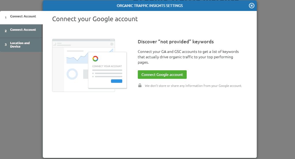 Organic trafic insights settings semrush