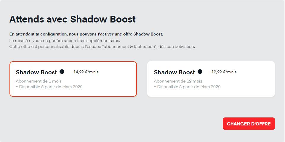 Offres de compensation Shadow