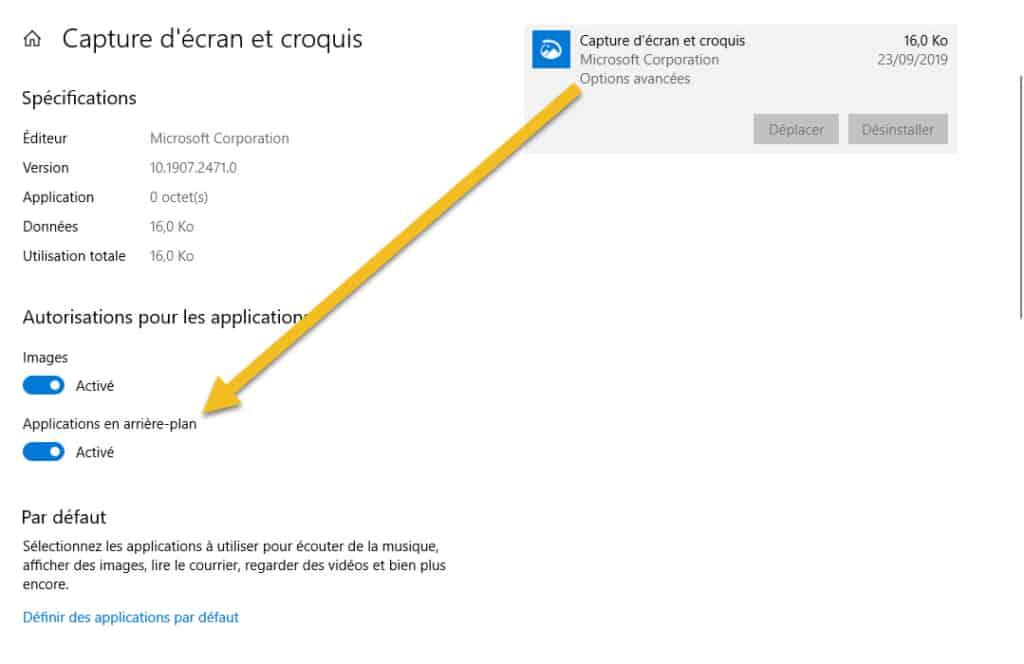 désactiver autorisations applications Microsoft Store