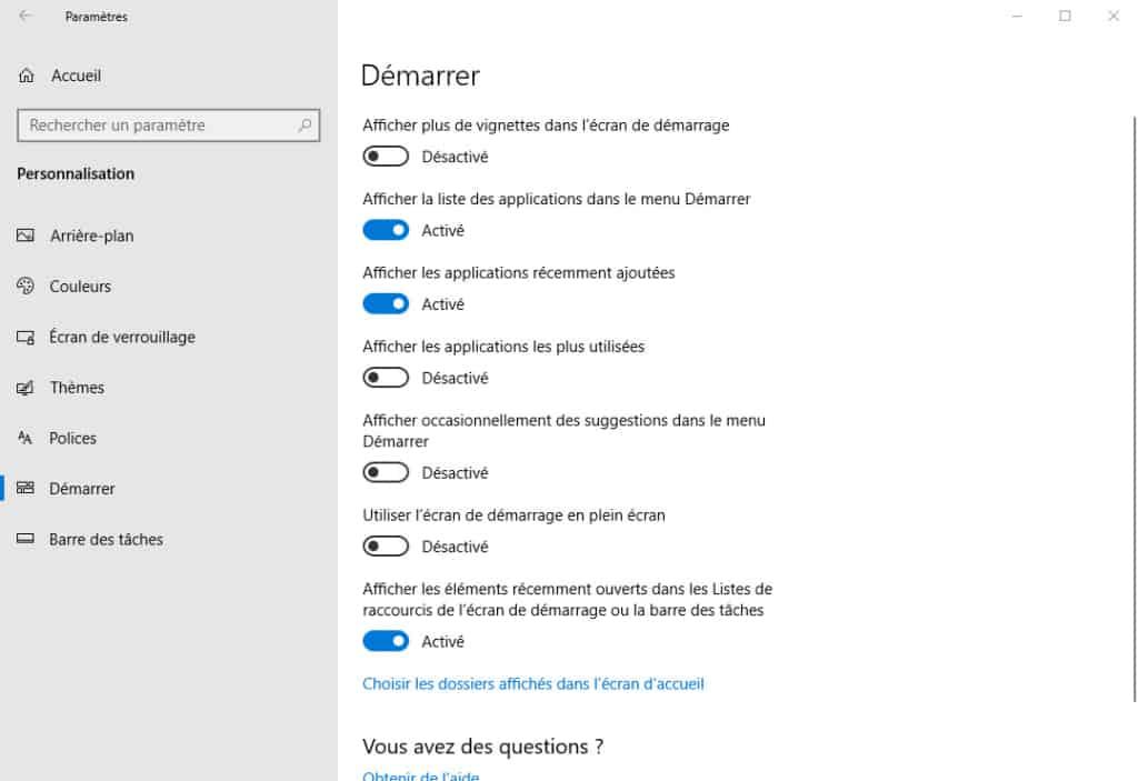 désactiver publicités menu démarrer Windows 10