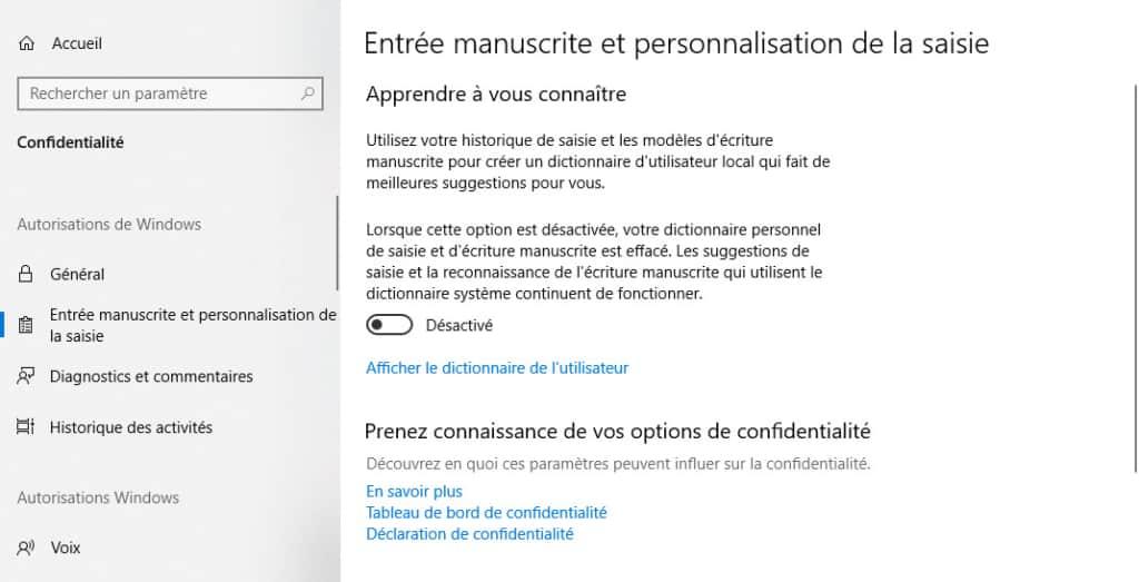 Entrée manuscrite Windows 10 désactiver