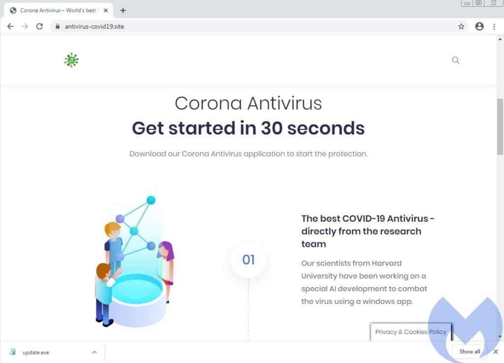 fake site corona antivirus