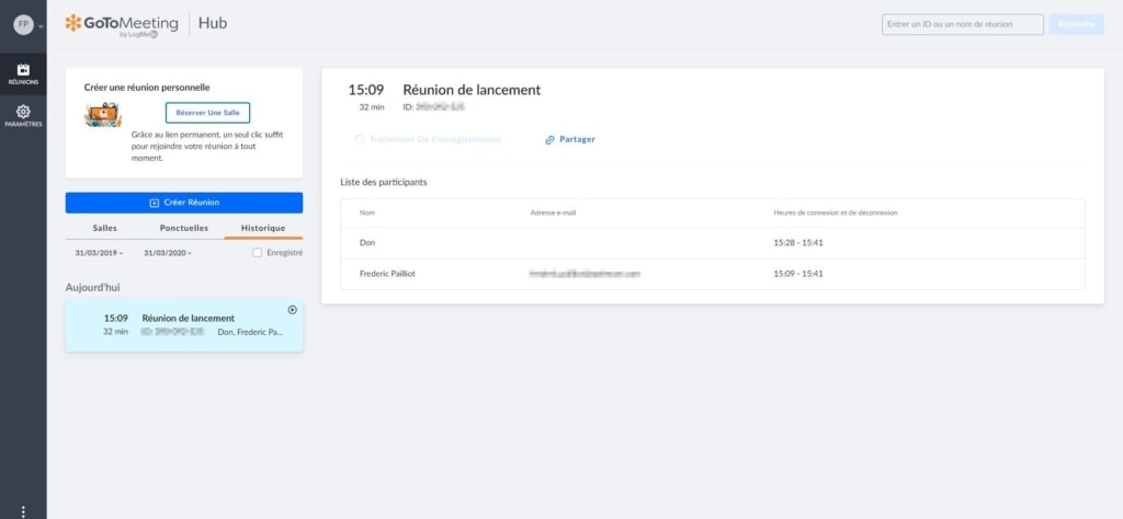 retrouver les réunions enregistrées GoToMeeting