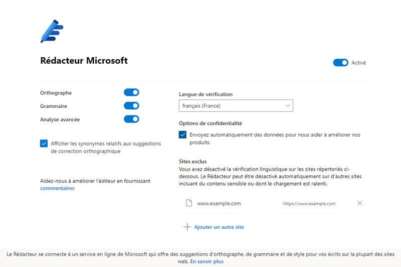 Paramètres Rédacteur Microsoft