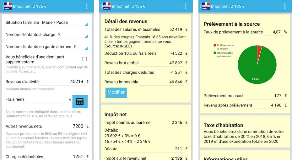 Calcul Impot 2020 android
