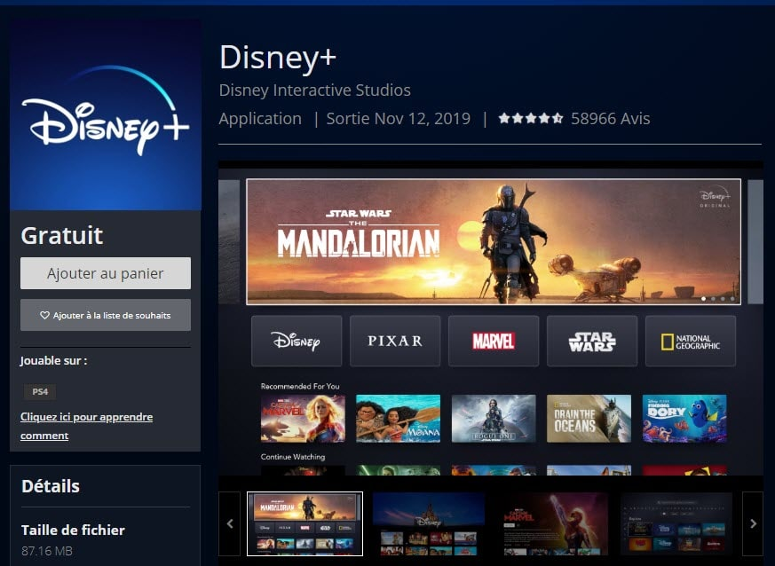 capture d'écran de Disneyplus sur le Playstation store
