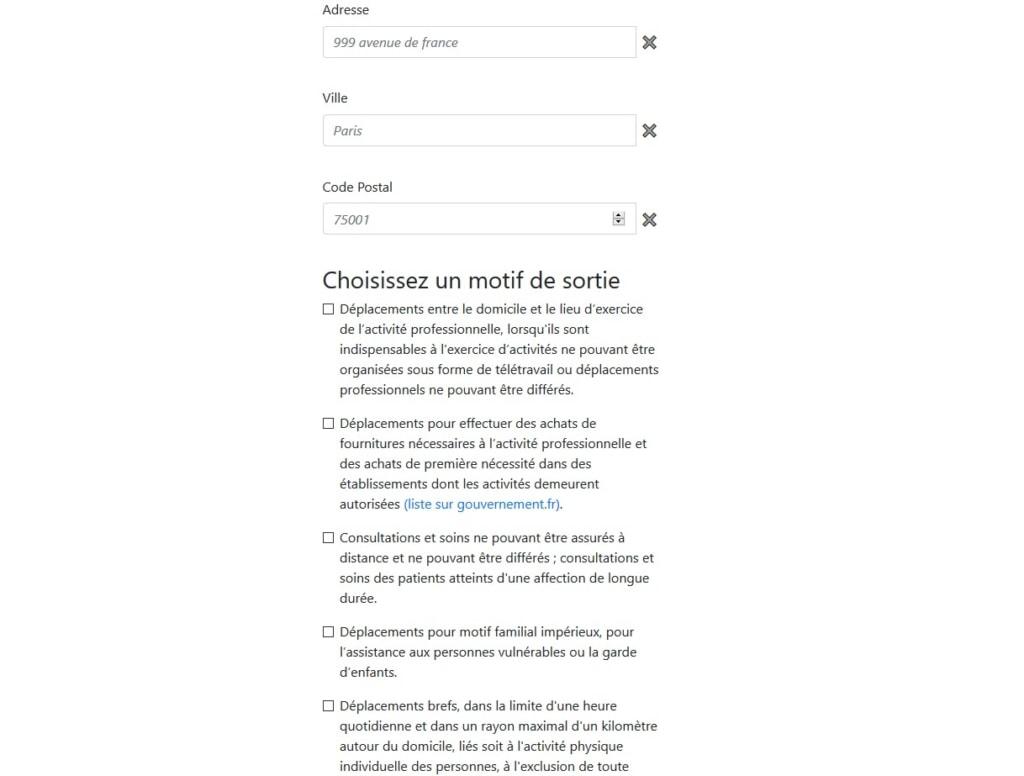 Capture d'écran de l'attestation mobile