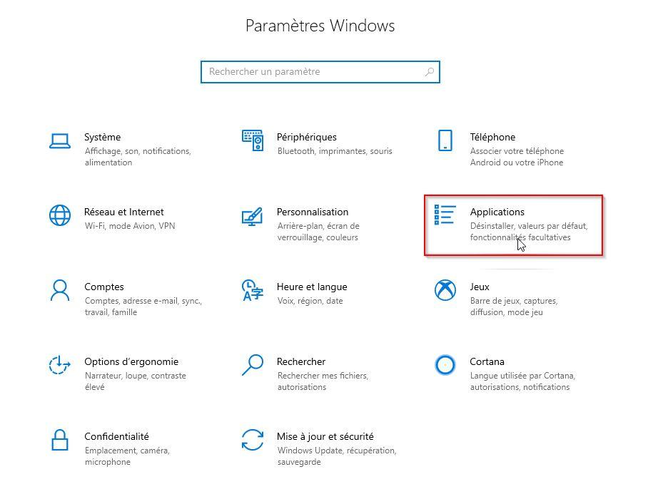 application et fonctionnalités windows