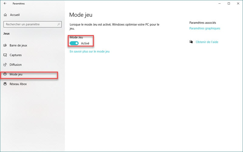 Mode jeu Windows 10