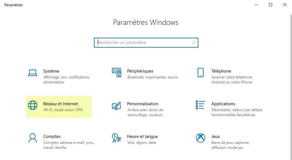Capture d'écran des paramètres de Windows