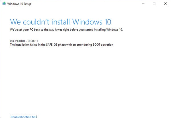 Windows 10 error setup