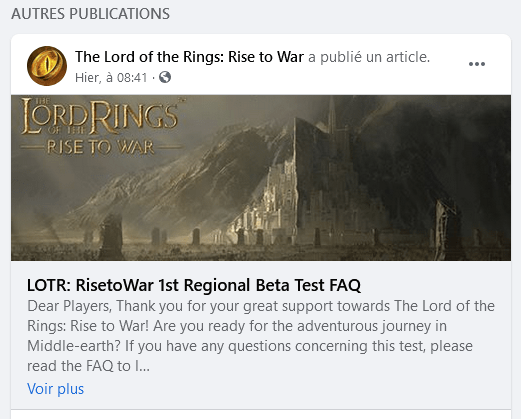Lord of The Rings Rise to War official FB page