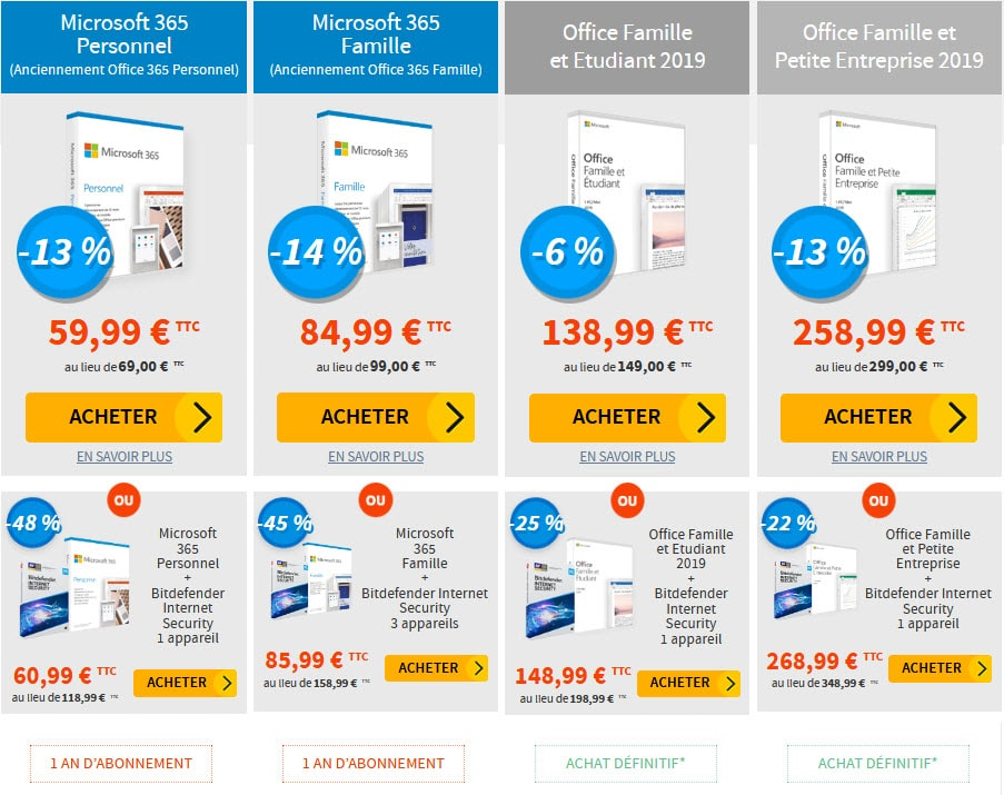 Office 365 pas cher