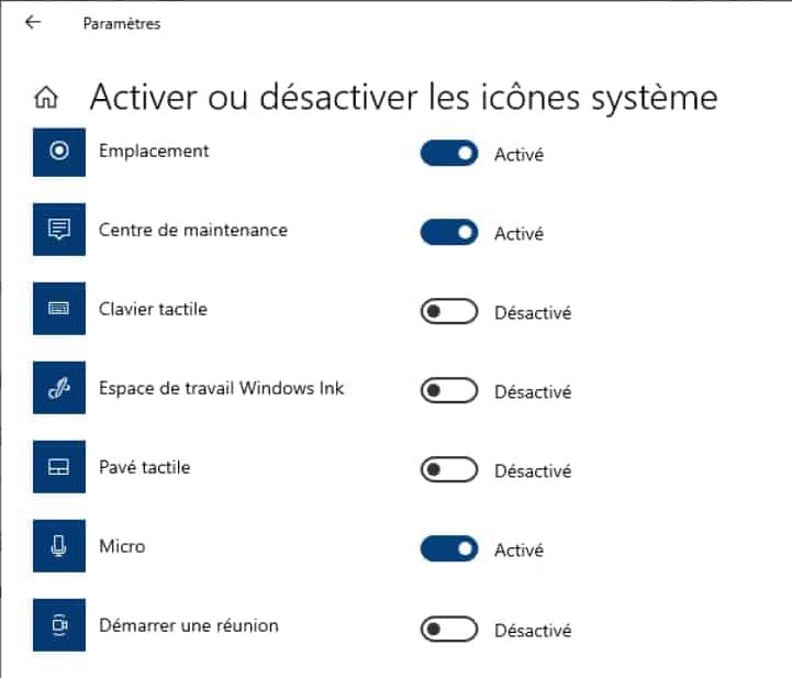 Désactiver icône système