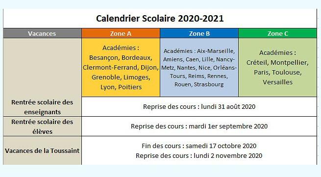 calendrier vacances scolaires 2020-2021