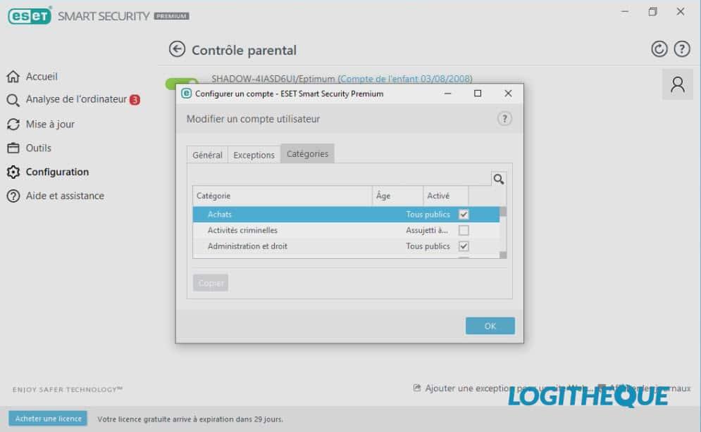 ESET Smart Security Premium configuration du contrôle parental