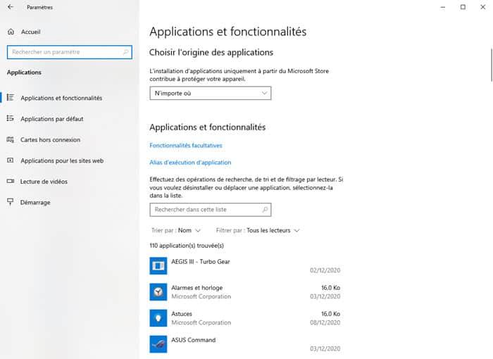 Windows 10 désinstallation